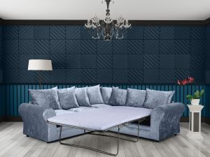 Crushed Velvet Denim Blue 2c2 Corner Sophie Sofa Bed With Scatter Cushions