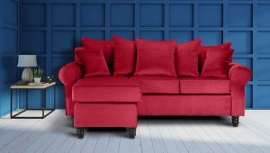 Velvet Scarlet Red St Moritz Corner Sofa With Reversible Chaise