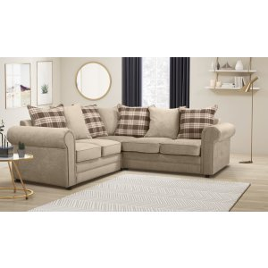 Chenille Fabric Beige 2c2 Charlotte Corner Sofa With Accent Cushions