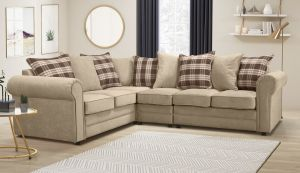 Chenille Fabric Beige 2c3 Charlotte Corner Sofa With Accent Cushions