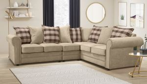 Chenille Fabric Beige 3c2 Charlotte Corner Sofa With Accent Cushions