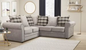 Chenille Fabric Light Grey 2c2 Charlotte Corner Sofa With Accent Cushions