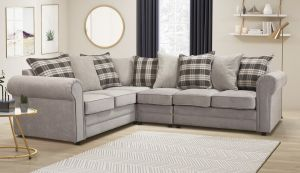 Chenille Fabric Light Grey 2c3 Charlotte Corner Sofa With Accent Cushions