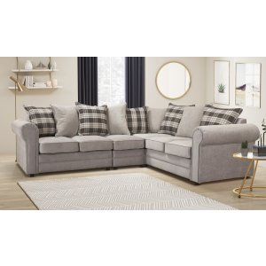 Chenille Fabric Light Grey 3c2 Charlotte Corner Sofa With Accent Cushions