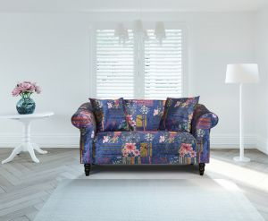 Fabric Navy Blue Patchwork 2 Seater Avici Shout Sofa