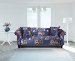 Fabric Navy Blue Patchwork 3 Seater Avici Shout Sofa