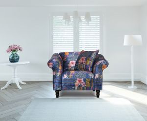 Fabric Navy Patchwork 1 Seater Avici Shout Sofa