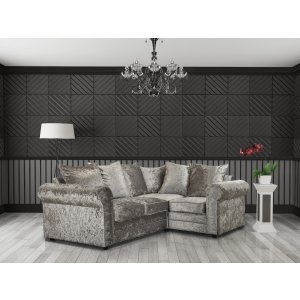 Crushed Velvet Silver 2c1 Corner Charlotte Sofa With Scatter Cushions