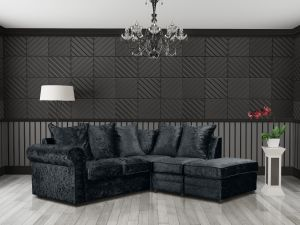 Crushed Velvet Black 2c1 Corner Charlotte Sofa With Scatter Cushions and Ottoman