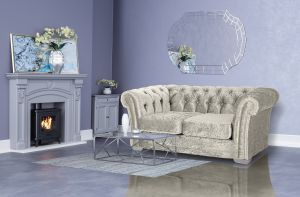 Crushed Velvet Chesterfield Cream 2 Seater Sloane Sofa With Diamante Studs