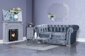 Crushed Velvet Chesterfield Denim Blue 2 Seater Sloane Sofa With Diamante Studs