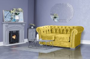 Crushed Velvet Chesterfield Gold 2 Seater Sloane Sofa With Diamante Studs