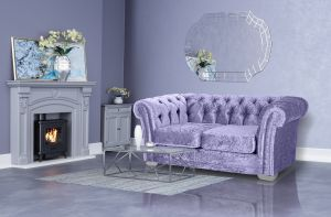 Crushed Velvet Chesterfield Lavender 2 Seater Sloane Sofa With Studs