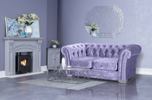 Crushed Velvet Chesterfield Lavender 2 Seater Sloane Sofa With Diamante Studs