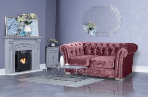 Crushed Velvet Chesterfield Mulberry 2 Seater Sloane Sofa With Diamante Studs