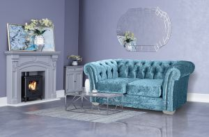 Crushed Velvet Chesterfield Blue 2 Seater Sloane Sofa With Studs