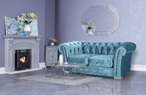 Crushed Velvet Chesterfield Blue 2 Seater Sloane Sofa With Diamante Studs
