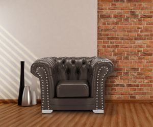 Leather Brown Chesterfield 1 Seater Sloane Sofa With Studs