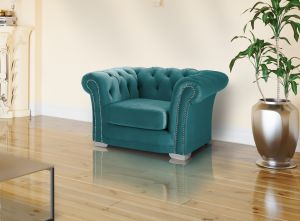 Velvet Chesterfield Teal / Turquoise 1 Seater Sloane Sofa With Studs
