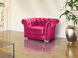 Velvet Chesterfield Cadillac Pink 1 Seater Sloane Sofa With Studs