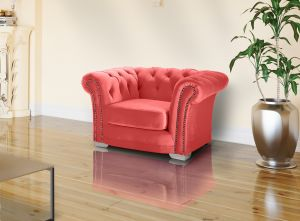Velvet Chesterfield Coral 1 Seater Sloane Sofa With Studs