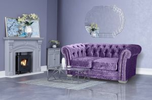 Crushed Velvet Chesterfield Grape Purple 2 Seater Sloane Sofa With Studs
