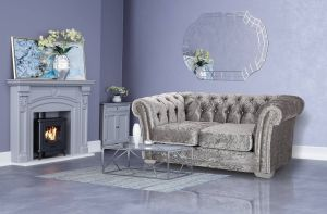 Crushed Velvet Chesterfield Silver 2 Seater Sloane Sofa With Diamante Studs