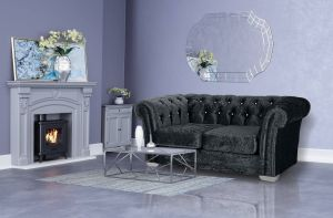 Crushed Velvet Chesterfield Black 2 Seater Sloane Sofa With Diamante Studs