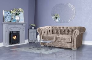 Crushed Velvet Chesterfield Mink 2 Seater Sloane Sofa With Diamante Studs