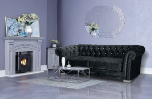 Crushed Velvet Chesterfield Black 3 Seater Sloane Sofa With Diamante Studs