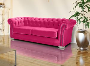 Velvet Chesterfield Cadillac Pink 3 Seater Sloane Sofa With Studs