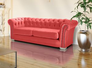 Velvet Chesterfield Coral 3 Seater Sloane Sofa With Studs