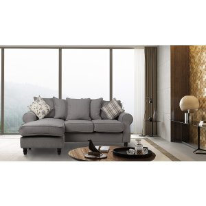 Fabric Grey Corner Sofa St Moritz With Reversible Chaise
