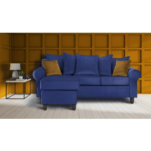 Velvet Marine Blue Corner St Moritz Sofa With Reversible Chaise
