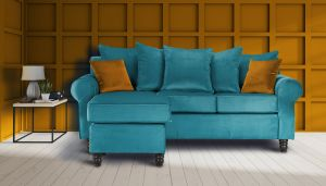Velvet Turquoise / Teal Corner St Moritz Sofa With Reversible Chaise