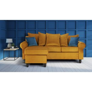 Velvet Mustard Gold Corner St Moritz Sofa With Reversible Chaise