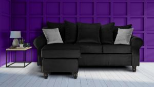 Velvet Black St Moritz Corner Sofa With Reversible Chaise
