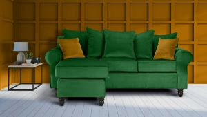 Velvet Emerald Green St Moritz Corner Sofa With Reversible Chaise