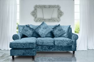Crushed Velvet Glitz Aqua Blue Corner Sofa St Moritz With Reversible Chaise