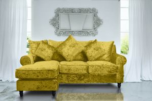 Crushed Velvet Glitz Gold Corner Sofa St Moritz With Reversible Chaise