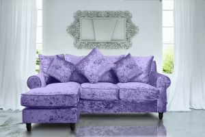 Crushed Velvet Glitz Lavender Corner Sofa St Moritz With Reversible Chaise