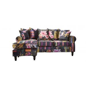 Black Patchwork St Moritz Corner Sofa With Reversible Chaise