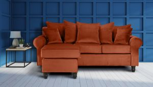 Velvet Sunset Orange St Moritz Corner Sofa With Reversible Chaise