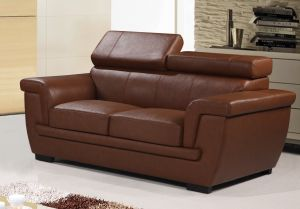 Genuine Leather Brown 2 Seater Saluzzo Sofa