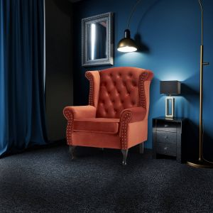Velvet Wing Back Fireside Chair / Armchair with Buttons Sunset Orange