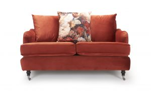 Velvet Sunset Orange 2 Seater Astbury Bella Sofa with Accent Cushion