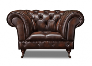 Leather Chesterfield Brown 1 Seater Trafalgar Sofa