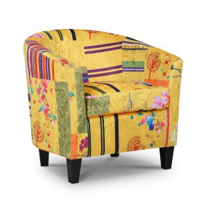 Fabric Gold Patchwork Tricia Tub Chair