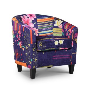 Fabric Navy Patchwork Tricia Tub Chair