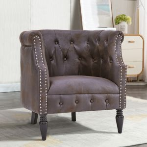 Leather Chocolate Brown Chesterfield Tub Chair - Leather Air Suede